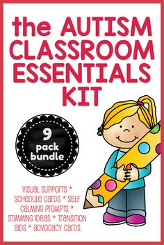 BIG KIT OF AUTISM CLASSROOM SUPPORTS!  Great value bundle of 9 resource packs, including schedule cards, transition counters, 'I need help' cards, calm down choice cards, About Me activity book and more.