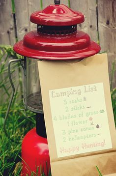 "Nature Scavenger hunt. Put together a ""Camping List"" of outdoor items for the kids to find and glue it to paper lunch sacks!! What a fun idea for camping or a camping themed party. Ours would have to be indoors but sounds fun"