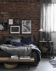 3 Masculine Bedroom Interior Designs And Tips For Men Brick Wall Bedroom, Brick Walls, Home Interior, Interior Design, Interior Ideas, Sweet Home, Mid Century Modern Bedroom, Style Deco, Home Bedroom