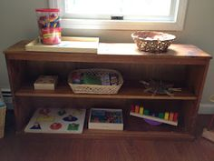 Examples of Montessori work shelves for young children (from Simple Little Home)