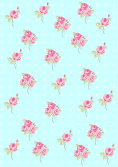 Floral  Shabby chic pattern paper soft blue ccffff