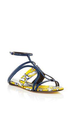 Patent leather and mikado lexina sandal by OSCAR DE LA RENTA