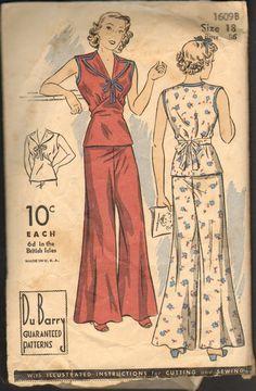 Rare Vintage Du Barry 1609B Sewing Pattern 1930's or 1940's 2 Piece Pajamas