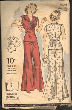 Rare Vintage Du Barry 1609B Sewing Pattern 1930's or 1940's 2 Piece Pajamas