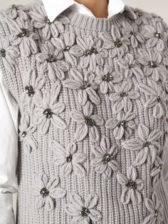 Search from over 2000 designers for the latest designer knitted sweaters Crewel Embroidery, Embroidery Designs, Sweater Embroidery, Knitting Stitches, Knitting Patterns, Knit Fashion, Knit Crochet, Brunello Cucinelli, Sweaters For Women