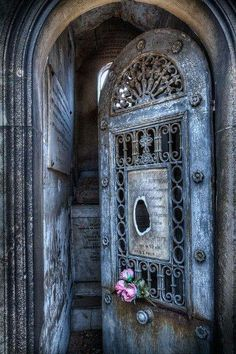 I love this door...looks like lace.