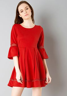 374bd7db24 Buy women Lace Insert Bell Sleeve Skater Dress - Red online in India. Shop  latest collection of Skater Dresses for women with COD and easy return at  ...
