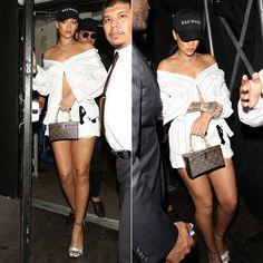 Rihanna Parties in Vetements Button Down Shirt