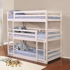 Triple Twin Wood Bunk Bed in White Finish   Sturdy Triple Convertible Bunk Bed