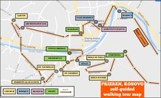 Prizren, Kosovo Self-Guided Walking Tour Map with Sights and Route