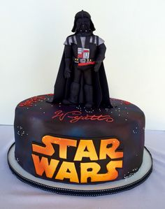 Darth Vader Sugar topper: Classic Chocolate and Vanilla Cake