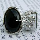 Trendy  Arty Rings  #modtoast  Arty Oval Ring Black Silver Chunky Armor Knuckle Art Statement Cage Deco Avant Garde Size 7