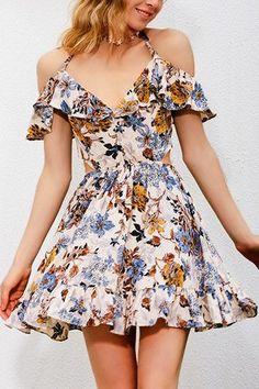 Random Floral Print V-neckline Ruffled Design Mini Dress from mobile - US$21.95 -YOINS