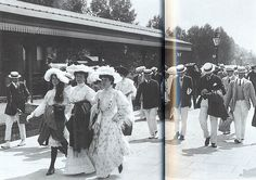 Women walk from Henley railway station to watch the Regatta during the 1905 Season armed with parasols and shawls. Summer day dresses were usually made in soft pastel colours such as lilac, white and pink, and these may have been made of print cotton. Girls wore their hair long until they were eighteen, when it was swept up in combs and pins