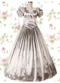 Classic Satin Square Empire Floor-length Ruched Bottom Lolita Dress With Vertical Pleats