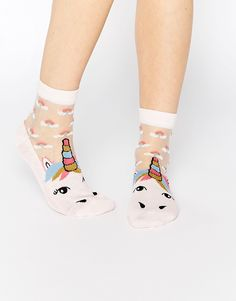 Unicorn Sheer Panel Socks With Rainbows