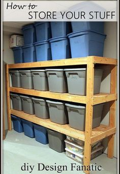 easy storage idea, shelving ideas, storage ideas, woodworking projects, A storage area in your basement in garage doesn t have to be expensive or complicated
