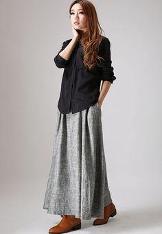 Grey linen skirt woman maxi skirt custom made long by xiaolizi