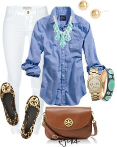 I think I have a thing for leopard shoes this year. White jeans, chambray shirt, Tory Burch leopard flats and turquoise accessories!!!