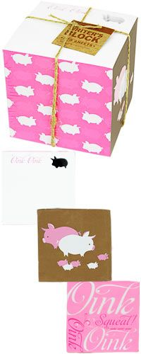 Writer's Block Note Stack - Pigs at The Breast Cancer Site.....
