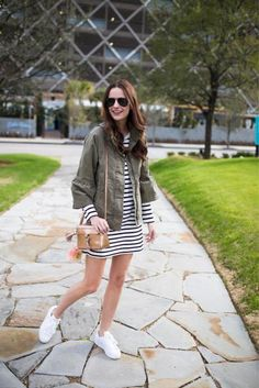 Amanda Miller wearing the cutest green cargo jacket with bell sleeves