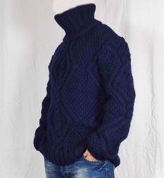 Hand Knitted 100% WOOL Pullover Men Sweater Turtleneck SOFT   Etsy Gros Pull Long, Handgestrickte Pullover, Jumper, Men Sweater, Wool Yarn, Hand Knitting, Turtle Neck, Etsy, Sleeves
