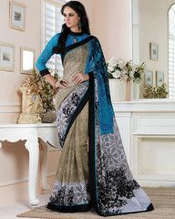 Blue, Black & Off White Color Linen Bhagalpuri Party Wear Sarees : Nayantara Collection YF-32004