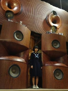 Moriyama Meiboku/one piece solid wood open baffle and front loaded horn speakers> Lovely! Open Baffle Speakers, Pro Audio Speakers, Big Speakers, Horn Speakers, Audiophile Speakers, Audio Design, Speaker Design, Hifi Video, Vintage Modern
