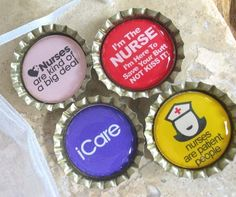 Very Funny Nurse BottleCap Magnets with White Organza Bag- Set of 4. $6.50, via Etsy.