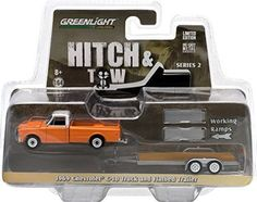 1969 Chevrolet Pickup Truck Orange & Flatbed Trailer Hitch & Tow Series 2 by Greenlight Mini Trucks, Toy Trucks, Chevy Trucks, Pickup Trucks, Custom Hot Wheels, Hot Wheels Cars, Flatbed Trailer, Trailer Hitch, Trailers