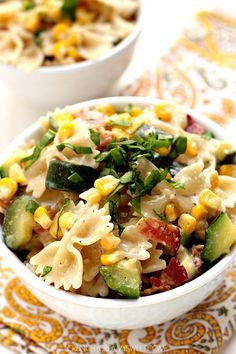 Sweet Corn and Zucchini Pasta with Bacon - a 15-minute dinner idea with summer's favorite veggies! This will be your favorite summer pasta!