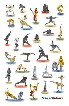 Star Wars characters doing yoga
