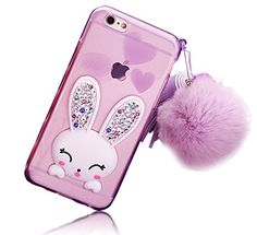 iPhone SE/iPhone 5 5S Case – Sunroyal® Ultra Fin 3D Lapin TPU Coque Etui Transparent Gel Silicone Doux Bunny Back Cover de Protection avec…