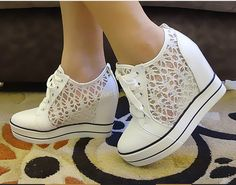 2013 New South Korean Fashion Lace Hollow Thick Bottom Breathable Leisure Shoes. These shoes are so cute Dream Shoes, Crazy Shoes, Me Too Shoes, Shoe Boots, Ankle Boots, Shoes Heels, Pretty Shoes, Beautiful Shoes, Mode Shoes