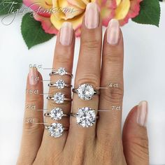 ✨ Which size would you wear? ✨ My finger size is a 4.75 for comparison. These 4 prong solitaires can be made in sterling silver or sterling silver plated in 14k rose gold. We also have some of the solitaires available in 14k solid white gold, 14k solid yellow gold, or 2 toned 14k rose and white gold.  Shop now at  TigerGems.com