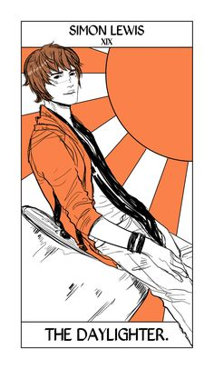In honor of all the Simon-ness today, Simon Lewis card from Cassandra Jean's Shadowhunter Tarot. Simon takes the Sun Card, only as a Daylighter.