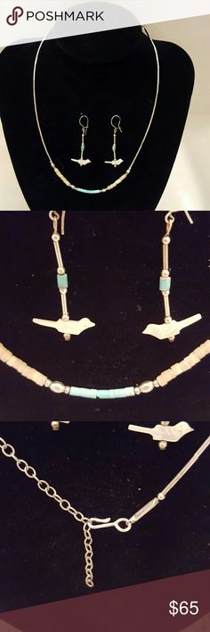 """Vintage Japanese necklace Silver strand with blue & taupe beads. Necklace has fish hook clasp. Earrings are hand carved mother of pearl little birds. Earrings are 1.75"""" long. Necklace is 18"""" long. Vintage Jewelry Necklaces"""