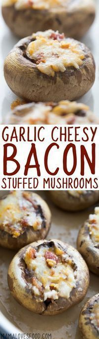 omg these disappeared SO FAST!!! will make again! Cheesy Bacon Stuffed Mushrooms Recipe - How to make the best stuffed mushrooms appetizer ever!
