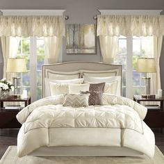 097410ded68 Madison Park Essentials Loretta Ivory 24 Piece Room in a Bag - Window Panels    Sheet Set Included (Cal King)