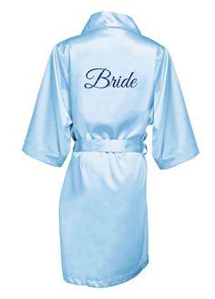 Glitter Print Bride Satin Robe - Sky Blue, 3X/4X