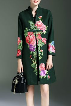 Blackish Green Embroidered One Button Cheongsam Coat