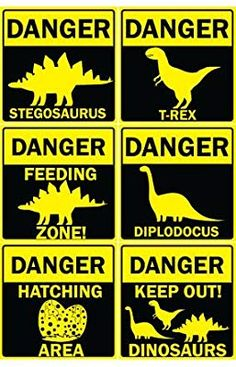 Danger Dinosaurs PVC Party Sign Decorations 20cm x 20cm - Pack of 6: Amazon.co.uk: Toys & Games Park Birthday, Dinosaur Birthday Party, 4th Birthday Parties, Dinasour Party, Festa Jurassic Park, Die Dinos Baby, Safari Party, Party Signs, Room