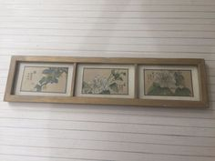 Vintage Chinese 3 Flowers Original Paintings on Silk, Signed, Framed