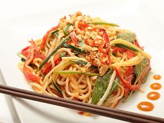 Spicy Peanut Noodle Salad with Cucumbers, Red Peppers, and Basil #vegan