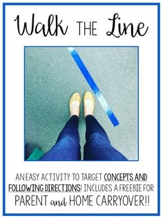 You only need tape for this simple activity targeting concepts and following directions. Free parent carryover sheet! From Speechy Musings.
