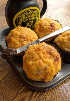 Cheese and Marmite Savoury Muffins - perfect for breakfast or sandwich alternative Vegetarian Recipes, Snack Recipes, Snacks, Savory Muffins, Marmite, Creamy Cheese, Food Styling, Tart, Sandwiches