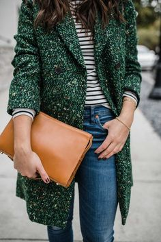 Green Tweed Coat - fall outfits, winter outfit ideas My Style Vita Coats For Women, Clothes For Women, Women's Clothes, Clothes Sale, Clothes Shops, Fashion Outfits, Womens Fashion, Fashion Trends, Fashion Coat