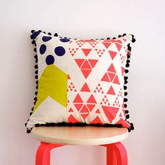 Cushion++Screen+printed+bright+colours+with+pom+by+ThePrintSociety,+$72.00