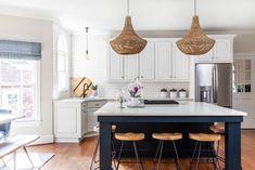 Square Island Kitchen, Open Plan Kitchen, Kitchen Islands, Beige Cabinets, White Kitchen Cabinets, Cottage Kitchens, Home Kitchens, Eider White, Bright Rooms