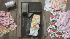Fritt-Verpackung mit dem Stanz- und Falzbrett für Geschenktüten Envelope Punch Board Projects, Treat Holder, Scrapbook Cards, Scrapbooking, Stamping Up, Craft Fairs, Gift Bags, Party Planning, Goodies